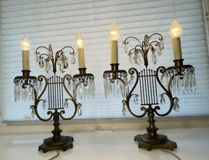 VINTAGE PAIR OF ART DECO MANTLE LUSTER LAMPS