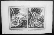 1768 Drake Antique Print of a Khoikhoi Village & Hunting Lions in South Africa