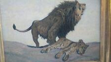 Menelik 1927 huile sur toile lions.peinture AFRICANISTE african painting
