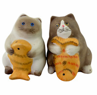 Vintage Siamese and Brown Fat Cats Holding Fish Salt and Pepper Shakers