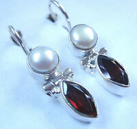 Faceted Garnet and Cultured Pearl 925 Sterling Silver Wire Back Earrings
