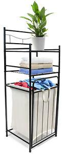 Bathroom Tower Hamper Organizer - Features Tilt Out Laundry Hamper W/ 2 Shelves