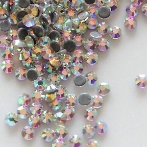 SS6 - SS20 DMC A++ Crystal AB Glass Flatback Hotfix Rhinestones Iron-on