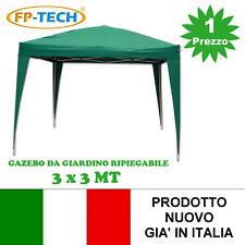 GAZEBO PIEGHEVOLE GIARDINO 3X3 AUTOMATICO RICHIUDIBILE FISARMONICA STAND FIERA