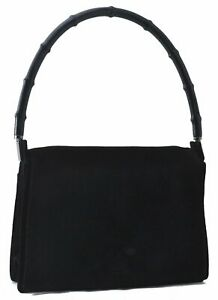 Authentic GUCCI Bamboo Hand Bag Suede Black B3399