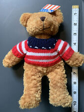 Plushland Patriotic Bear American Flag Sweater 9 Inches