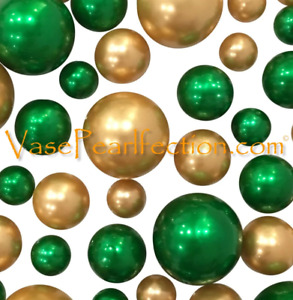 St. Patrick's Green & Gold Pearls - No Hole Jumbo/Assorted Sizes Vase Decoration
