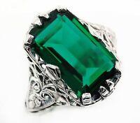 10CT Emerald Quartz 925 Sterling Silver Art Deco Style Ring Jewelry Sz 8, PR39