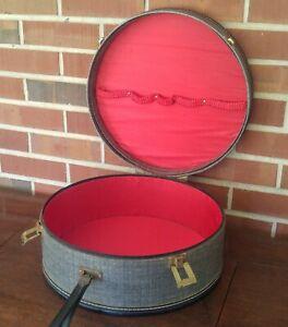 Vintage Black and Tweed Round Travel Hat Makeup Case Luggage