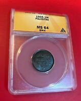 1935 PALESTINE MIL COIN ANACS CERTIFIED MS64 BRN