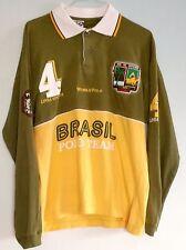 2004 BRAZIL Brasil World Polo Team Shirt Mens Shirt Long Sleeve L Green Yellow