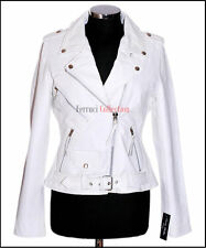 Ladies Brando White Women's New Biker Style Fashion Real Cowhide Leather Jacket
