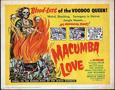 MACUMBA LOVE original 1960 VOODOO movie poster JUNE WILKINSON/ZIVA RODANN