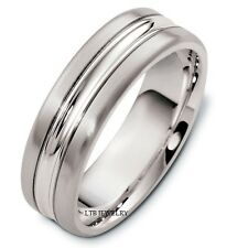 SOLID 14K WHITE GOLD MENS WEDDING BANDS RINGS 6MM