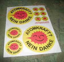 Atomkraft Nein Danke Kult Bogen mit 10  Aufkleber Papier AKW ne Stop Atomenergie