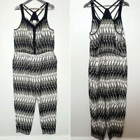 G21 (UK Size 20) Black Strappy Safari Giraffe Animal Print Jumpsuit Straight Leg