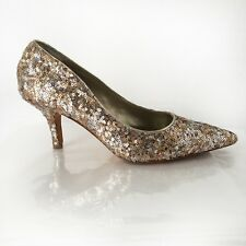 7M Gold Silver Sequin Heels Pumps Sparkly Retro Pinup White House Black Market