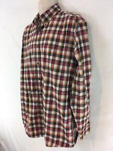 Orvis Mens M Red Plaid Indian Cotton Denim Button Front Shirt