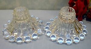 Vintage Pair of Crystal Boopie Bubble Candlesticks