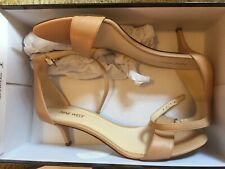 Nine West Leisa Leather Ankle Strap Sandals, Women's Size 8.5M, Natural