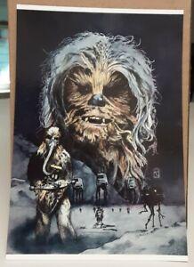 Vintage Star Wars postcard featuring Chewbacca (1993) art by Russell Walks ESB