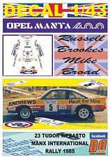 Decal 1/43 Opel Manta 400 R.Brookes Manx International R. 1985 Winner (12)
