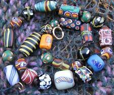 Antique Venetian African Fancy Trade Beads Glass Latticino Millefiori Necklace