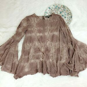 Love Stitch Womens Boho Top Size L Taupe Sheer Mesh Embroidered Bell Sleeves