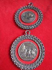 Vintage Two Roman Empire Metal Coin Round Pictures
