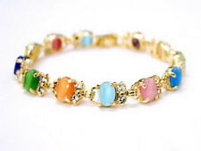 Multicolor Green Blue Pink Red Orange Opal 18KGP Crystal Clasp Bangle Bracelet
