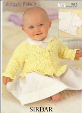 Cardigans Pattern for Babies & Girls Sirdar Snuggly Bubbly Knitting Pattern 1615