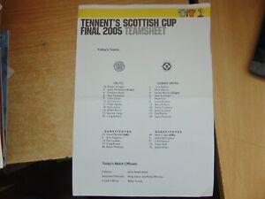 Teamsheet  Scottish Cup Final 2004/5 Glasgow Celtic v Dundee United