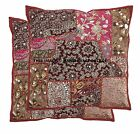 """2 PC Indian 16"""" Patchwork Embroidered Cushion Throw Vintage Pillow Cover Sham"""