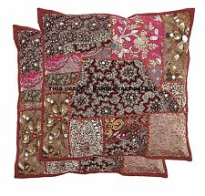 "2 PC Indian 16"" Patchwork Embroidered Cushion Throw Vintage Pillow Cover Sham"