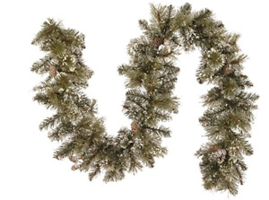 National Tree Co 6ft.Flocked w/Mixed Decorations Glittery Pine Garland -New!