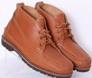 NEW Gokey Brown Leather Moc Toe Lug Sole Lace-Up Chukka Boots Men's US 11D