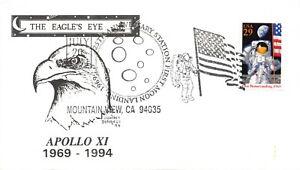 APOLLO 11 25th ANNIV 1ST MOON LANDING MOUNTAIN VIEW FD USE DUNAHUE CACHET #2841a