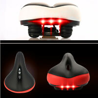 Thickened Broaden Bike Bicycle Cushion Seat Saddle with Warning Taillight Light
