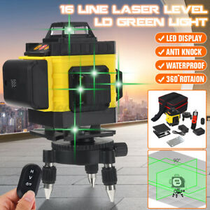 4D 16 Line Laser Level Self Leveling 360° Rotary Cross Measuring Tool w/ Base
