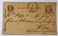 Österreich Ganzsache 2 Kreuzer Nieliczka nach Wien Leopoldstadt 1879