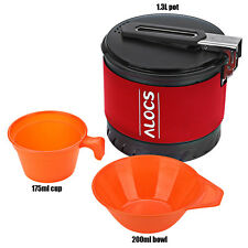 Outdoor 1.3L Camping Pot with Folding Handle Outdoor Cooking Set with Bowl Cup