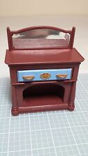 Brown Dresser Bureau w Reflective Mirror Fisher Price Doll House Furniture H7021