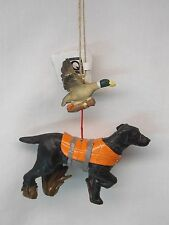 Black Lab Dog in His Hunting Vest Ready for Ducks Christmas Tree Ornament Resin