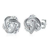 Beautiful Silver White Gold Plated Clear CZ Accented Love Knot Stud Earrings