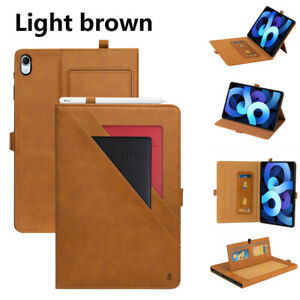 Deluxe Leather Wallet Flip Smart Case Cover For Apple iPad Air 4 10.9 Air 3 2 1