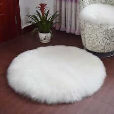 Luxury Round White Rug Plush Wool/Fur Imitation. Mat Carpet.