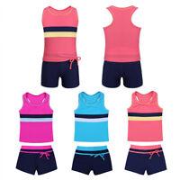Girls Kids Summer One/Two Piece Swimwear Boyshort Tops Tankini Swimsuit Bathing