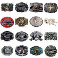 Vintage Men Western Cowboy Men's Leather Belt Buckle Metal 38mm 40mm 30 Patterns