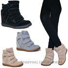 SCARPE Donna Sneakers Sportive Scamosciate Ginnastica Rialzo INTERNO 9 Zeppa V78