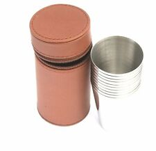 Shooting Peg Position Finder Numbered Cups 1-10 Brown  Leather Case